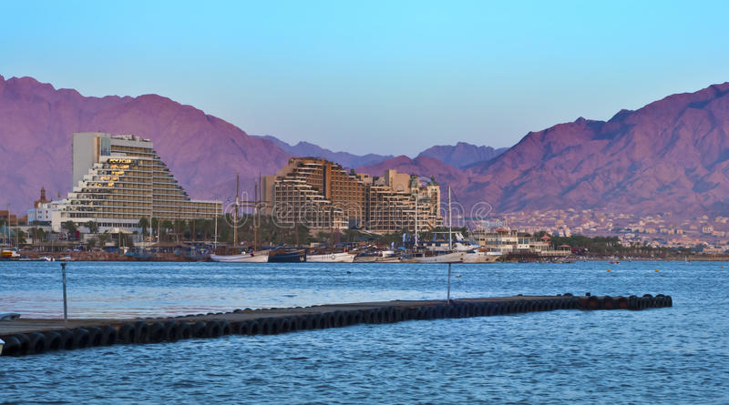 View on resort hotels in Eilat city, Israel. Eilat is a famous resort city in Israel royalty free stock images
