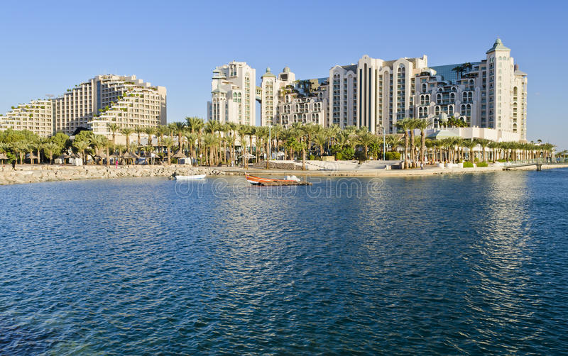 View on resort hotels and promenade, Eilat, Israel. Eilat is a famous resort and recreation city in Israel located on the Red Sea stock photo