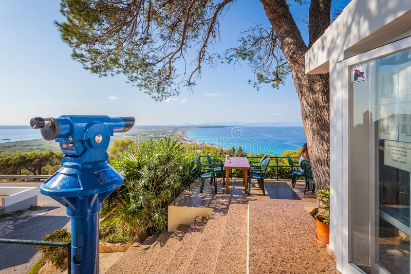 View from restaurant at the hill on panorama of the island, Balearic Islands stock images