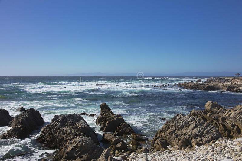 View of the restless sea long 17 mile drive California. View of the restless sea long 17 mile drive Pebble Beach California stock photography