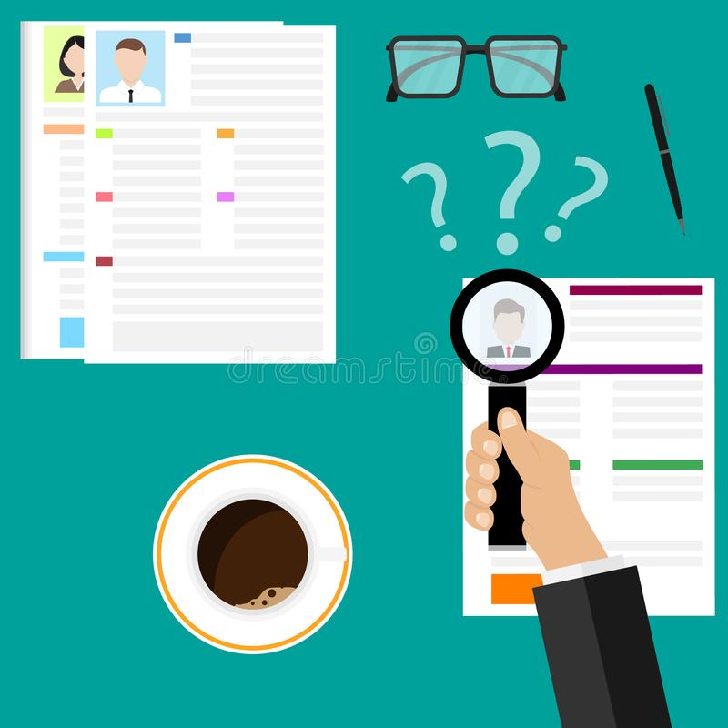 View Resume with magnifying glass. Flat illustration of the search of a candidate. A concept of the job interview with business re. Sume. Looking at resume and vector illustration