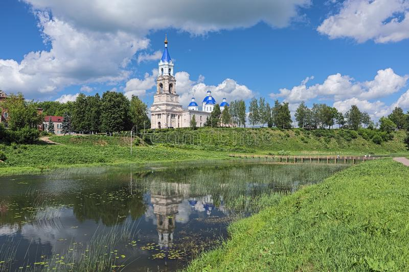View of Resurrection Cathedral from shore of Kashinka river in Kashin, Russia royalty free stock photo