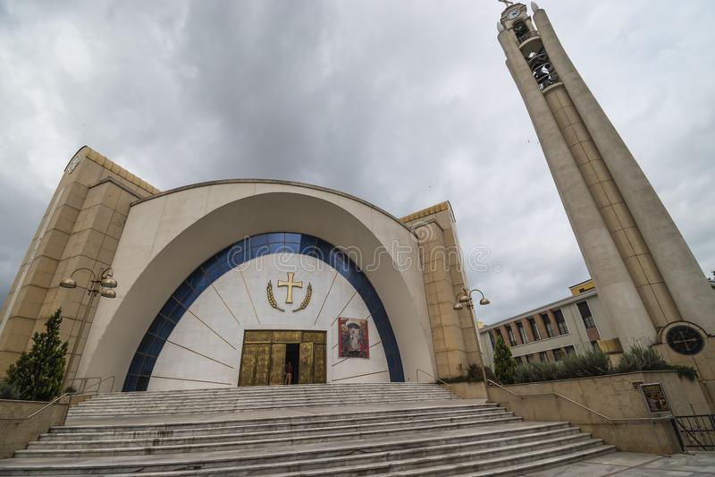 View of Resurrection of Christ Orthodox Cathedral, Tirana, Albania. Tirane, Albania - May 2019: View of Resurrection of Christ Orthodox Cathedral, Tirana stock image