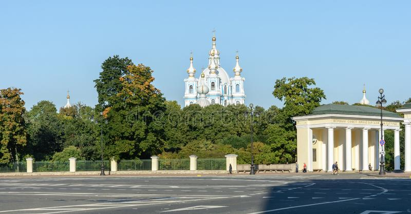 View of the Smolny Cathedral from the street of mount Lafonskoy. Located in St. Petersburg on the left Bank of the Neva river on stock photography
