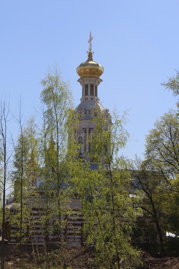 View of the Resurrection Church from the Smolenka River Embankment stock images