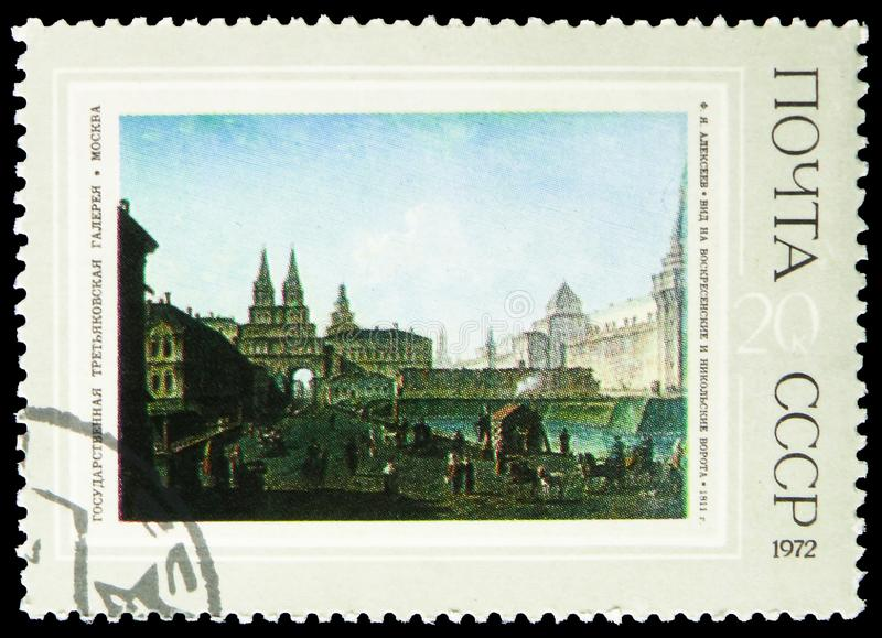 View of the Resurrection and Nikolsky Gates, 1811, F.Ja. Alekseev, Russian Paintings - 1972 serie, circa 1972 royalty free stock photography