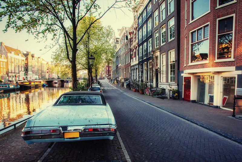 View a retro car. Amsterdam - Netherlands. Beauty world Europe. View a retro car. Amsterdam - Netherlands. Beauty world. Europe stock photo