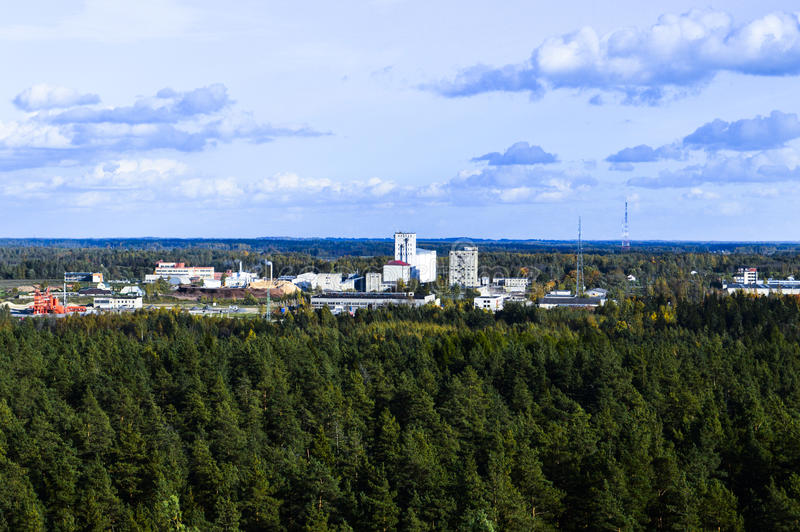 View of Rezekne. View of Rezekne, Latvia, from a viewing tower in the forest on Anchupani mountains in the sunny autumn afternoon stock images