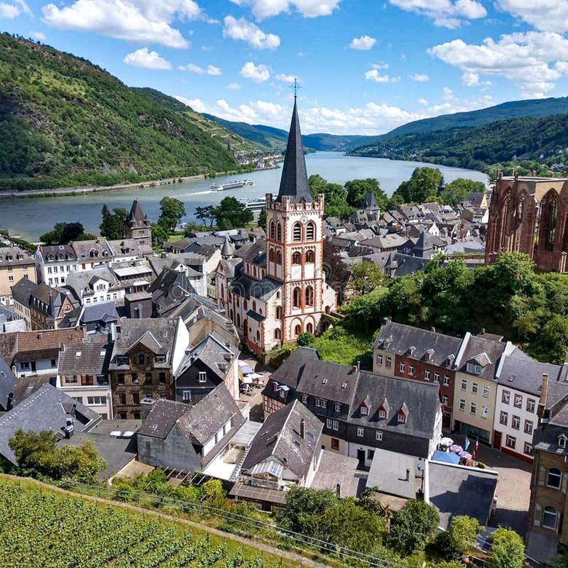 View of Bacharach, Germany and the Rhine from vineyards above the village stock photo