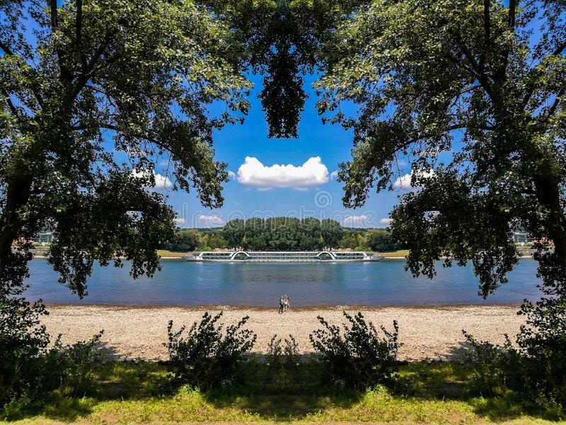 View of Rhine river from the Rheinaue park in Bonn, Germany. View among the trees on Rheinaue park of the Rhine river in Bonn, Germany beautiful forest green stock photo