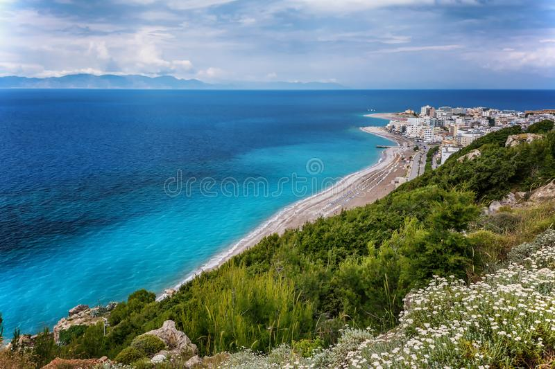 View on Rhodes city with sandy beach. Rhodes island, Dodekanes, Greece royalty free stock image