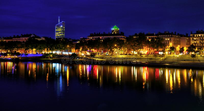 View of Rhone river in Lyon at night, France royalty free stock photo