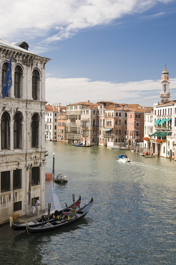 View From Rialto Bridge. With gondola, flags and stunning buildings of the canal grande - Venice (Italy 2007 royalty free stock image