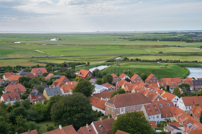 View of Ribe, Denmark. View of the medieval city of Ribe, Denmark. Seen from the top of Ribe Cathedral. To the right in the middle of the image can the moat and stock photos