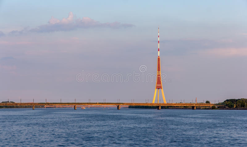 View of Riga TV tower - Latvia royalty free stock photo