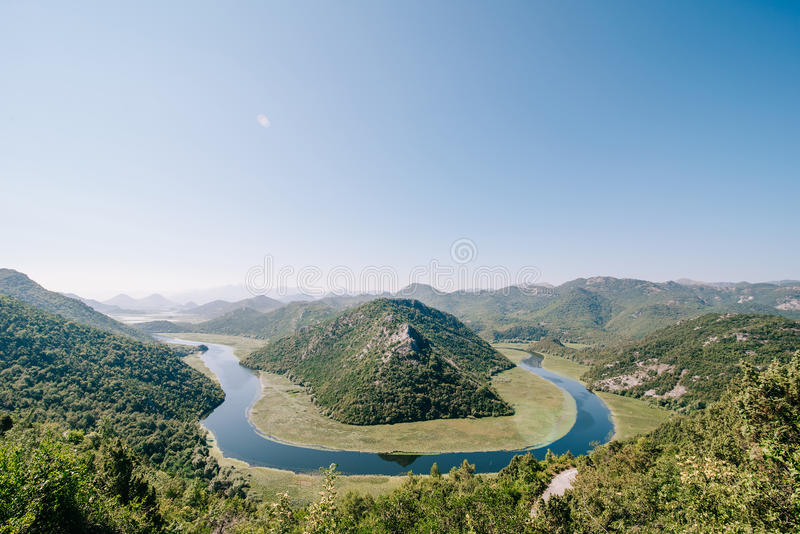 View of Rijeka Crnojevica.Skadar lake national park Montenegro. royalty free stock images