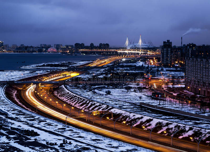 View on ring road and St Petersburg arena with height in St. Pet royalty free stock image