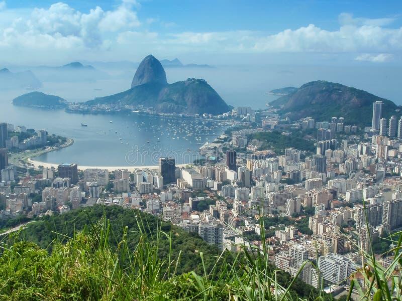 View of Rio citycsape. A panoramic view of cityscape from the Mirante Dona Marta peak in Rio de Janeiro, Brazil stock photography