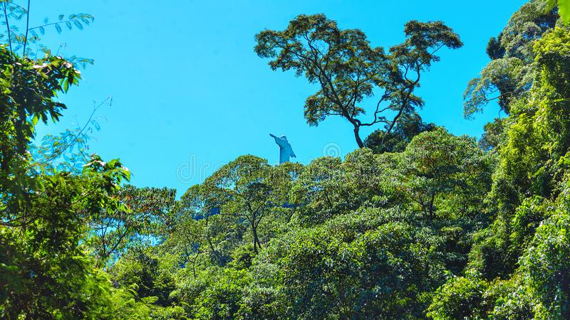 Beautiful view of Rio de Janeiro with Christ Redeemer through the park trees. Brazil. Latin America stock photography