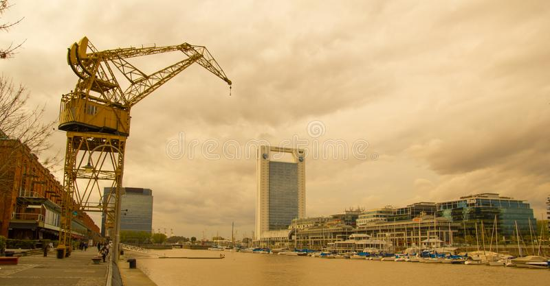 View of the Rio de la Plata, with the bridge of the woman, in the port district of Puerto Madero, the old port of Buenos Aires stock image