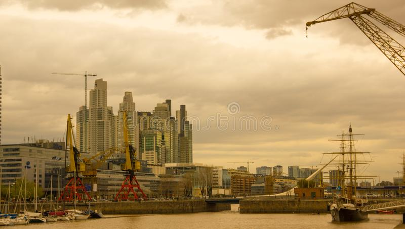 View of the Rio de la Plata, with the bridge of the woman, in the port district of Puerto Madero, the old port of Buenos Aires stock photos