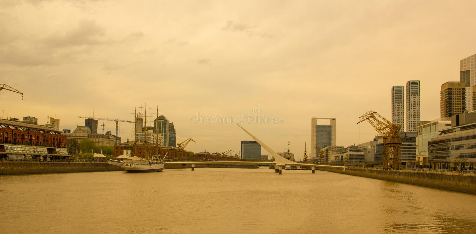 View of the Rio de la Plata, with the bridge of the woman, in the port district of Puerto Madero, the old port of Buenos Aires stock images
