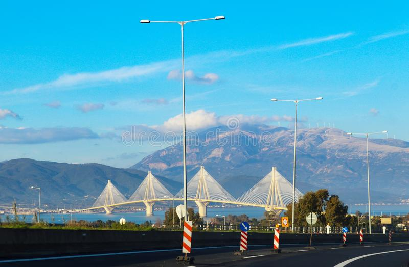 View from Rio of Rio–Antirrio bridge one of the world`s longest multi-span cable-stayed bridges and longest of the fully suspend. The View from Rio of Rio royalty free stock photos