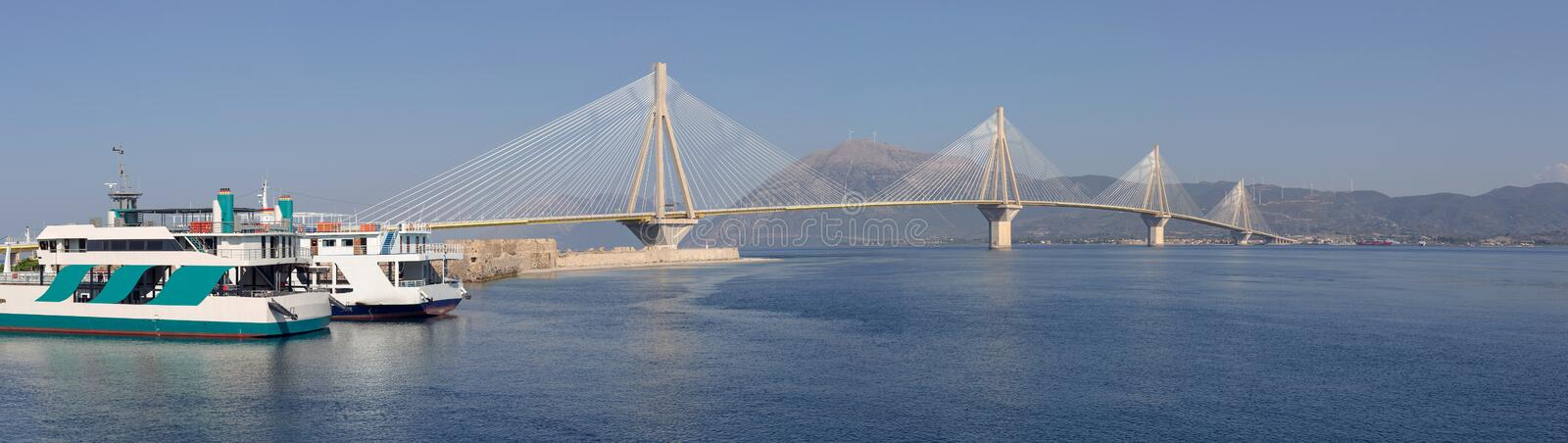 View of the modern bridge. View on Rion-Antirion bridge - the longest cable-stayed bridge in the world with a continuous overhead surface with a length of more royalty free stock photography