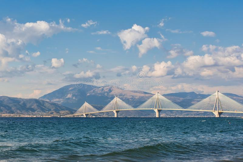 A view on the Rion-Antirion bridge near Patras, Greece royalty free stock images