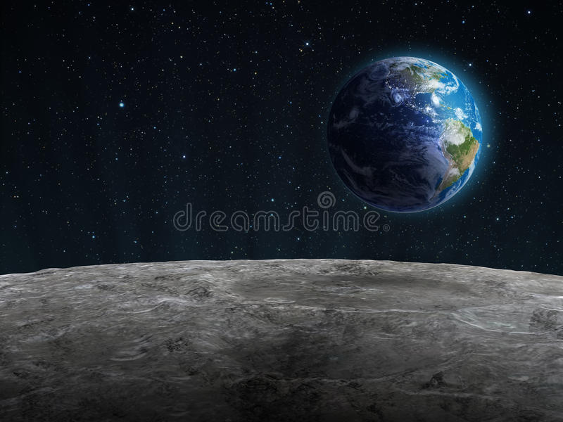 View of the rising Earth seen from the Moon stock illustration