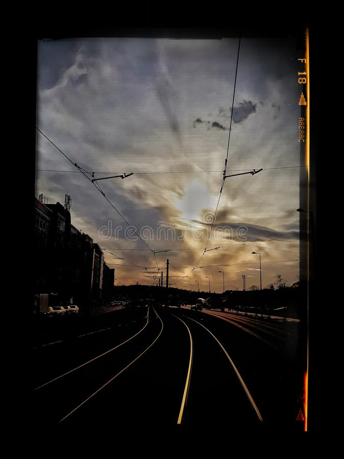A view of the rising sun from the tram cabin stock images