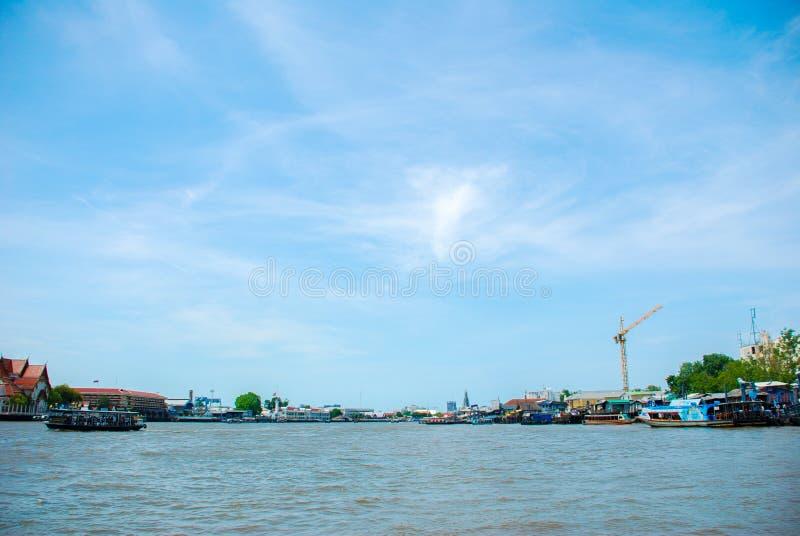 View at river and boat , Chao Phraya River at thailand.  royalty free stock photos