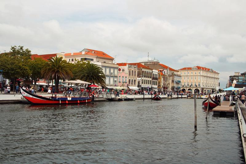 View of the river with boats. View of the river with boats in Aveiro, Portugal royalty free stock images