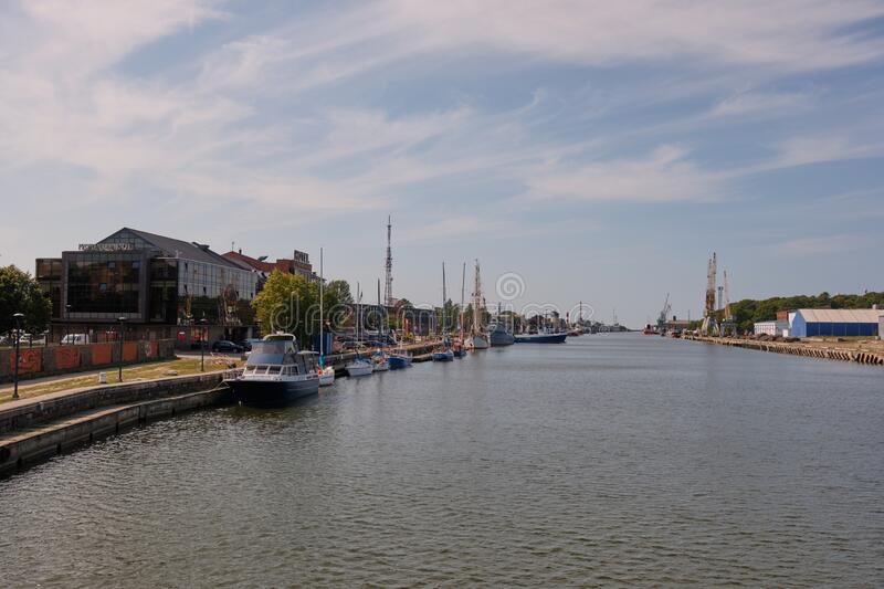 View from river canal bridge to Liepaja Harbor stock images