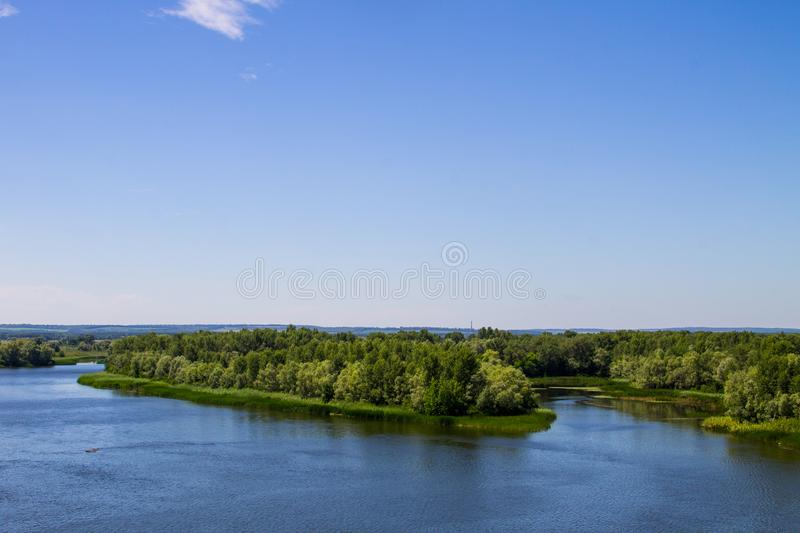 View on the river Dnieper. In Ukraine stock image