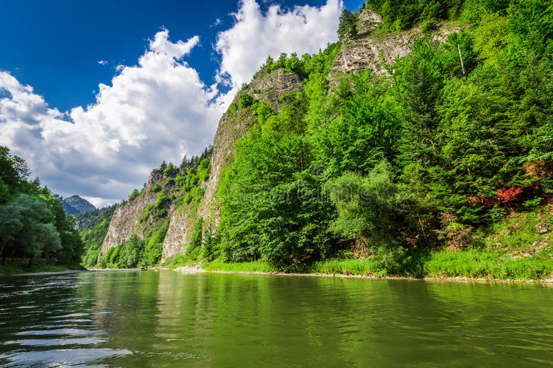 View from the river Dunajec in summer stock image