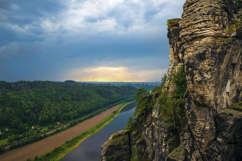 View of the River Elbe and surroundings near the Bastei Bridge in Saxon Switzerland, Germany royalty free stock photos