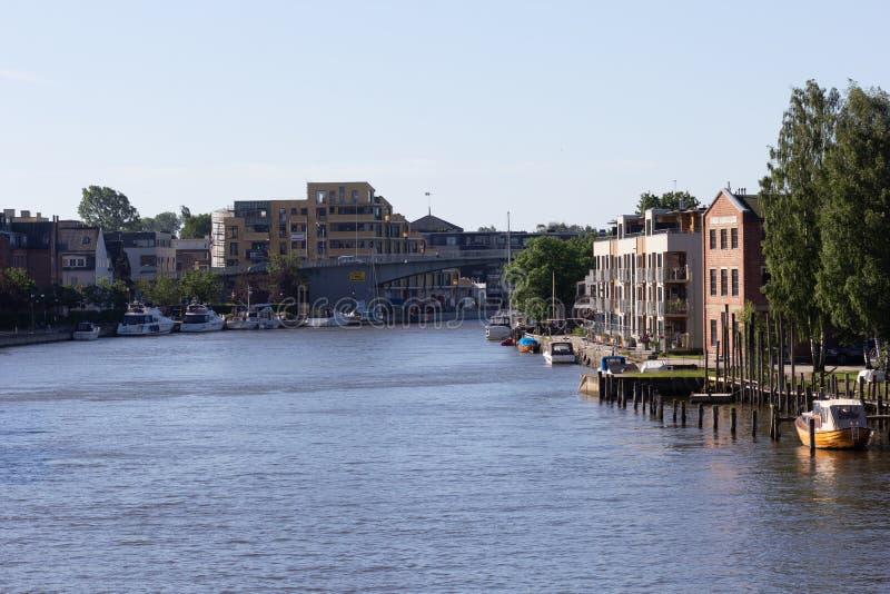 Fredrikstad / Norway - 17 june 2019 : View on the river Glomma from the bridge. View on the river Glomma from the bridge stock photo