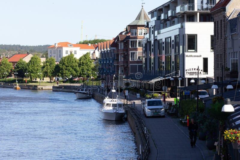 Fredrikstad / Norway - 17 june 2019 : View on the river Glomma from the bridge. View on the river Glomma from the bridge stock photos