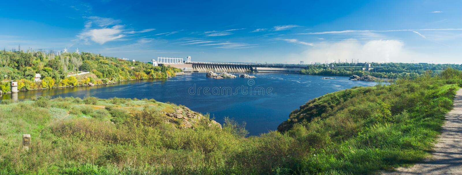 View from river island to Hydroelectric Station. View from Khortytsia island to Hydroelectric Station (largest hydroelectric power station on the Dnieper River stock photo