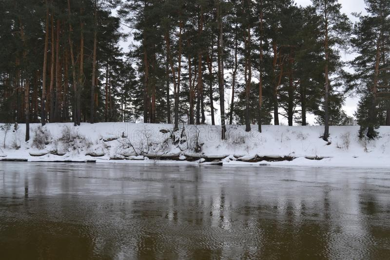 River in March in Russia royalty free stock photos