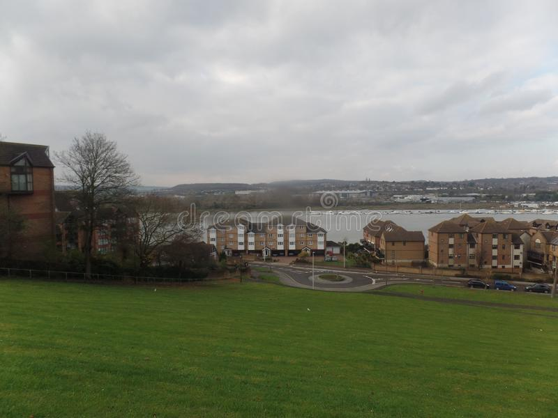 View of the River Medway from Churchfields, Rochester, United Kingdom. View of the River Medway taken from Churchfields in Rochester, United Kingdom royalty free stock photos