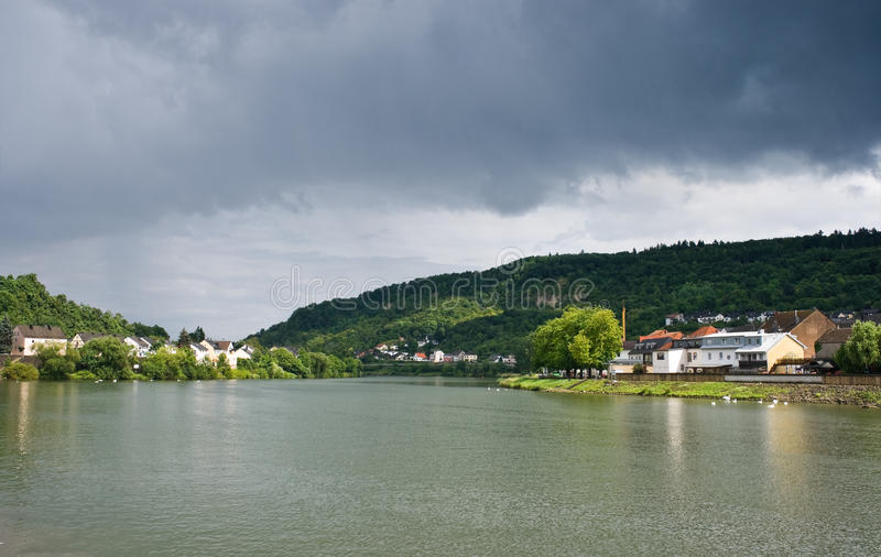 View on river Moezel or Mosel. Luxembourg, Europe in the sunshine in summer just after rainfall stock image
