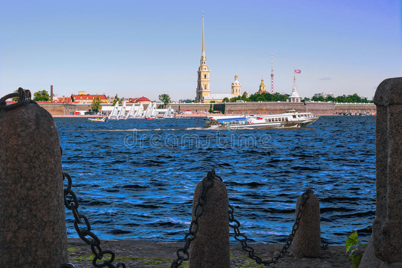 A view of the river Neva and the Peter and Paul fortress in Saint-Petersburg, Russia royalty free stock photo