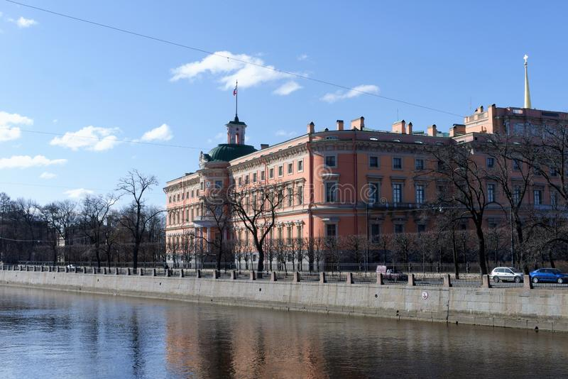 St. Petersburg, Russia, April 2019. View from the river on the part of the medieval castle in the city center. stock photos