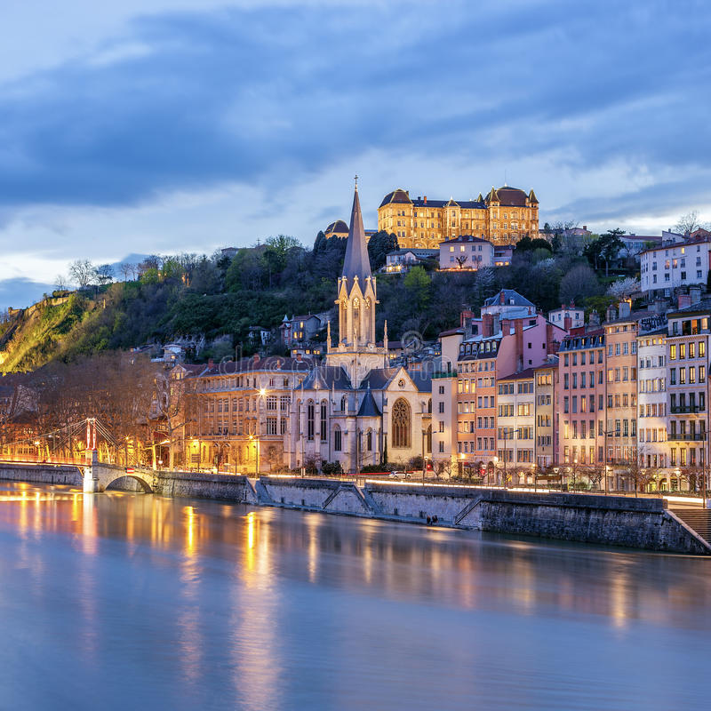 View of river saone at night, Lyon. France stock images