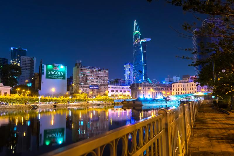 View of the river and the skyline in Ho Chi Minh City at night stock photos