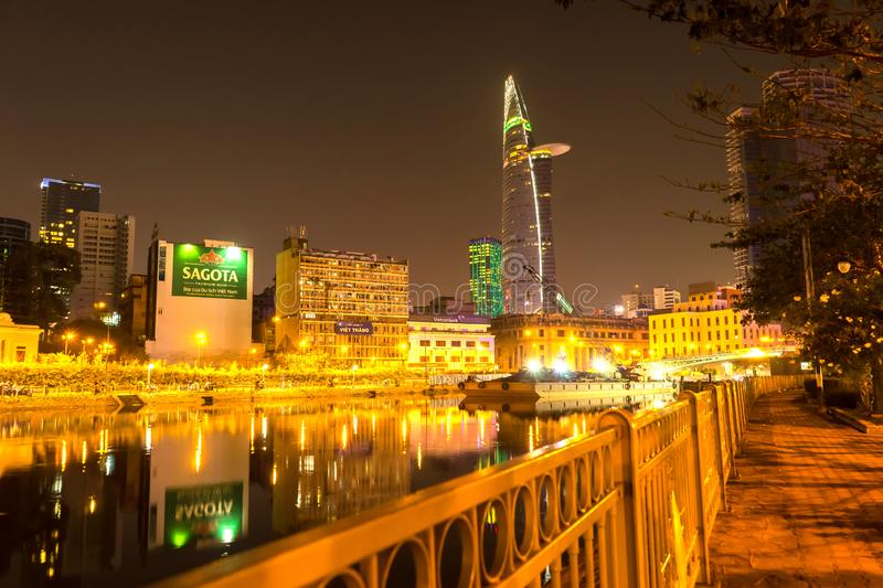 View of the river and the skyline in Ho Chi Minh City at night royalty free stock photos