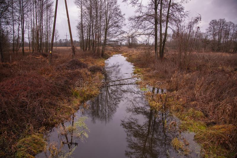 View of the river during snowless winter royalty free stock image