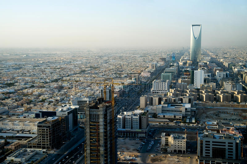 View Of Riyadh And Kingdom Tower Stock Photo